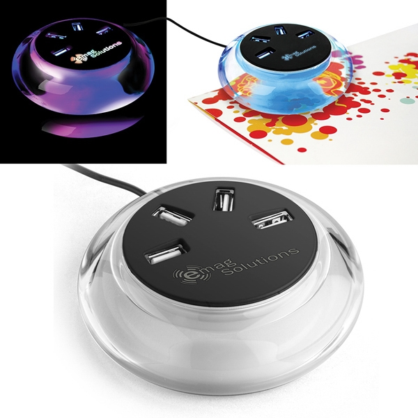 Moon Glow Aqua Lite  X Oopar (r) - 4 High Speed Usb Ports With Light Up Base Photo