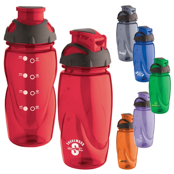 Tritan (r) - 18 Oz. Water Bottle Has Translucent Color, Black Rubber Cap And Drink Spout Photo