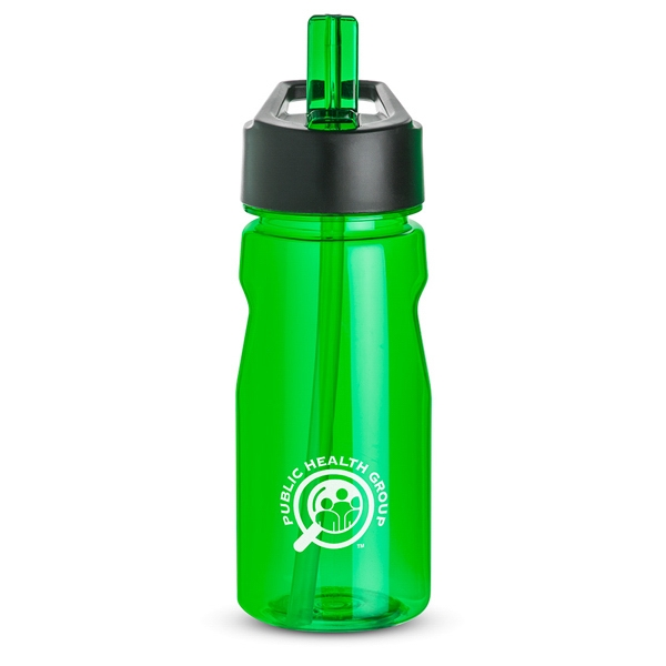 Green - Notched Water Bottle, 18 Oz., With Loop And Twist On Black Plastic Lid Photo