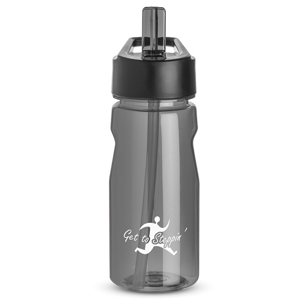 Smoke - Notched Water Bottle, 18 Oz., With Loop And Twist On Black Plastic Lid Photo