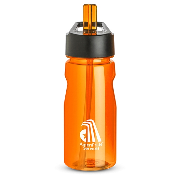 Orange - Notched Water Bottle, 18 Oz., With Loop And Twist On Black Plastic Lid Photo