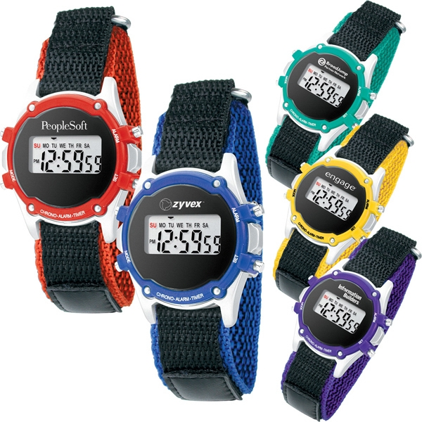 Stopwatch With Canvas Strap Has Precision Timing, Day-of-the Week Display And Alarm Photo