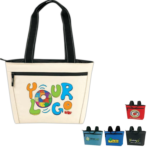 Two-tone 12 Pack Cooler Tote: Poly 600d, Insulated, Heat-sealed Lining Photo