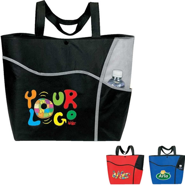 "Egreen - Wave Tote Bag. 90g Non-woven Polypropylene. Approximate Size: 18"" X 13.5"" X 4.75"" Photo"
