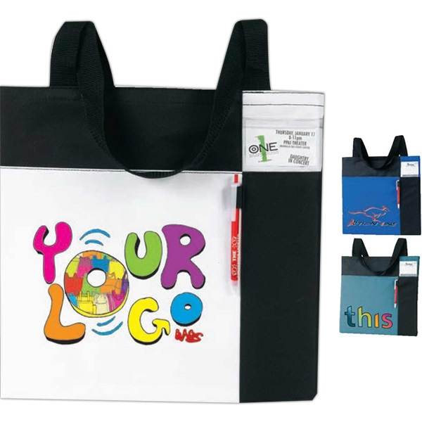"Color Block Id Convention Tote Bag. Approximate Size: 15"" X 15"" X 1"" Photo"