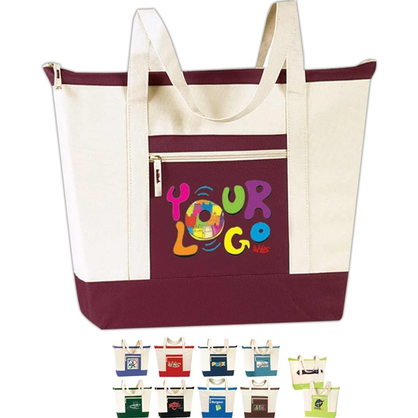 "Jumbo Zip Tote Bag: Poly 600d, Approximate Size: 21"" (top) X 16"" X 6"" Photo"