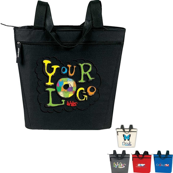 "Promotional Zip Tote: Poly 600d. Approximate Size: 18"" (top) X 15"" X 5"" Photo"