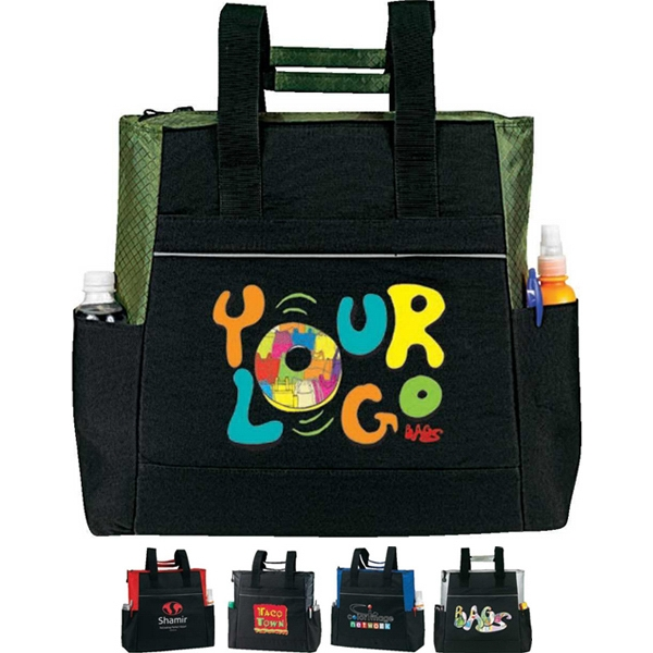 "Event Zippered Tote. Poly 600d Nylon Ripstop. Approximate Size: 16"" X 15"" X 5"" Photo"