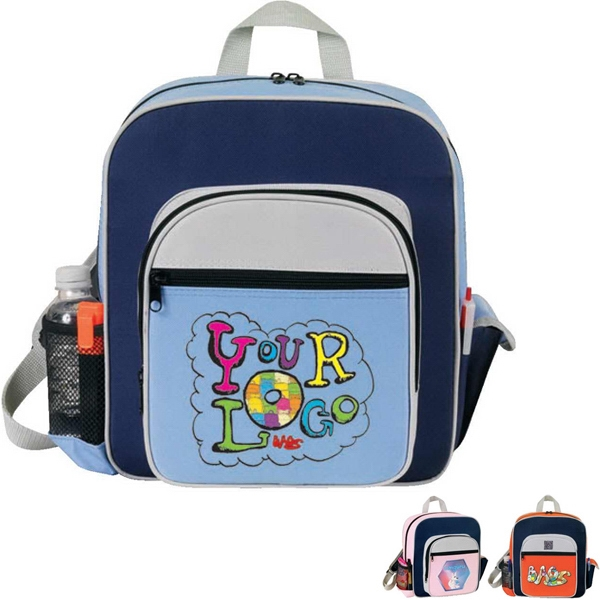 "Contemporary Kid's Backpack. Poly 600d. Approximate Size: 11"" X 12.5"" X 4.5"" Photo"
