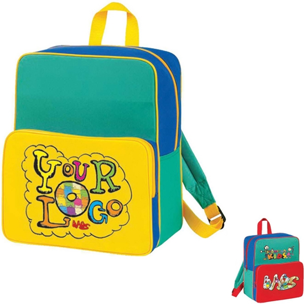 "Kid's Starter Backpack. Poly 600d. Approximate Size: 10.5"" X 12.5"" X 4.5"" Photo"