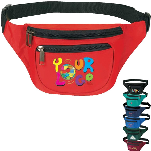 "3-zipper Fanny Pack. Nylon 420d. Approximate Size: 13"" X 5"" X 3"" Photo"