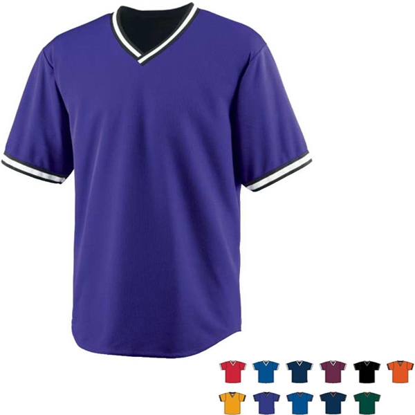 3 X L - Adult V-neck Baseball Jersey Made Of 100% Polyester. Sold Blank Photo