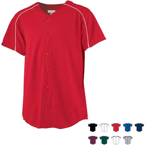 S- X L - 100% Polyester Performance Button Front Baseball Jersey. Sold Blank Photo