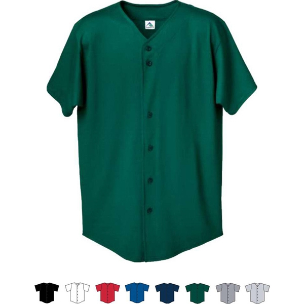 White S- X L - Adult Button Front Baseball Shirt. Sold Blank Photo