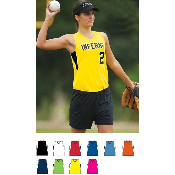 Inferno - Girls Polyester Blend Performance Jersey With V-neck Collar. Sold Blank Photo