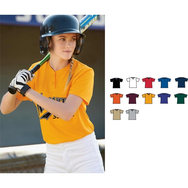 S- X L - Ladies' Fit Polyester Wicking Knit Two Button Softball Jersey. Sold Blank Photo
