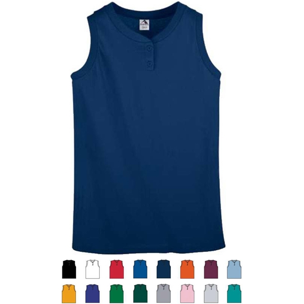 White S- X L - Ladies Sleeveless Two-button Softball Jersey. Sold Blank Photo
