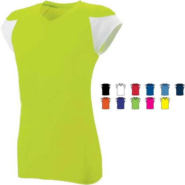 Mvp - Girls Fitted Performance V-neck Jersey. Sold Blank Photo