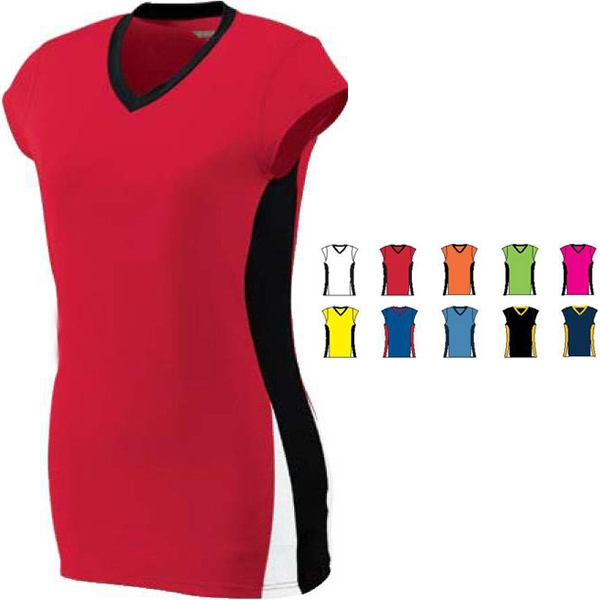 Hit - Girls Performance Jersey With Contrasting Self-fabric V-neck Collar. Sold Blank Photo