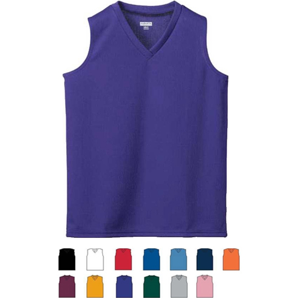 S- X L - Ladies 100% Polyester Wicking Mesh, Sleeveless Jersey. Sold Blank Photo