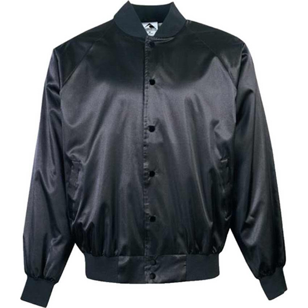 S- X L - Adult Nylon Satin Baseball Jacket With Solid Trim. Sold Blank Photo