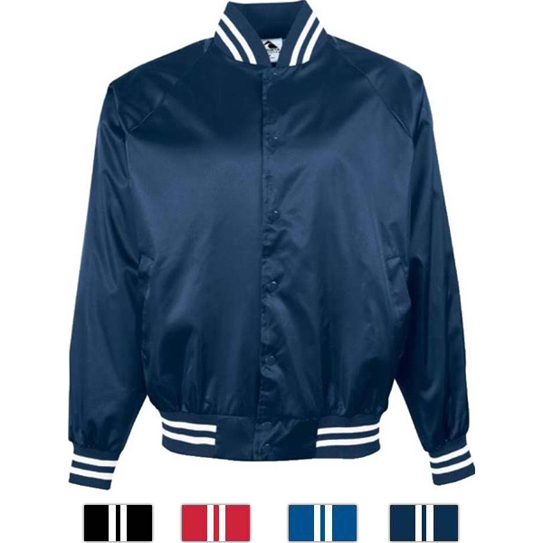 S- X L - Adult Satin Baseball Jacket With Striped Trim. Sold Blank Photo