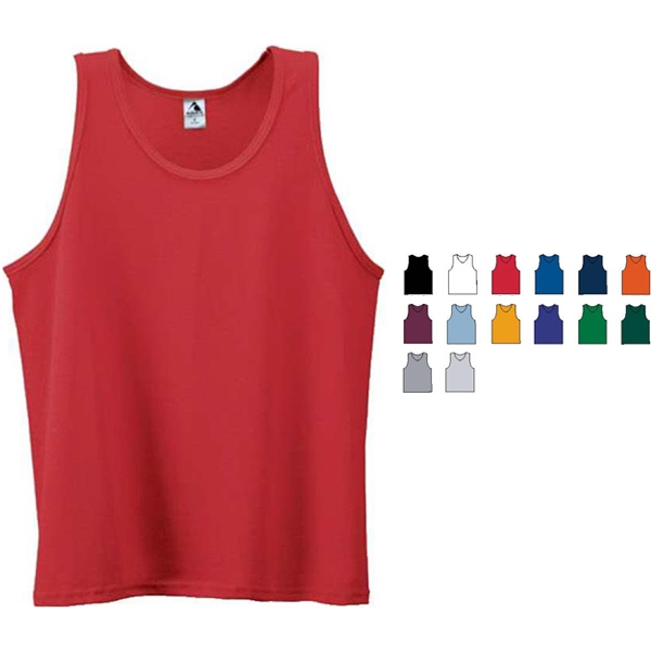White S-l - Youth Polyester/cotton Jersey Knit Athletic Tank. Sold Blank Photo