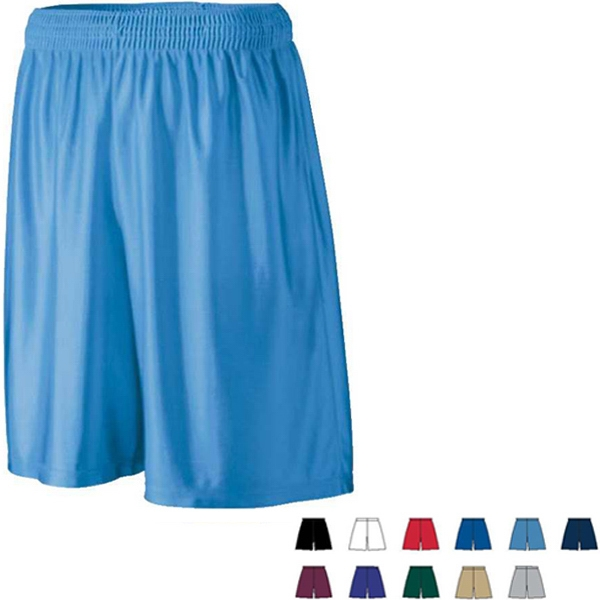 Youth Polyester Dazzle Fabric Long Short With Covered Elastic Waistband. Sold Blank Photo