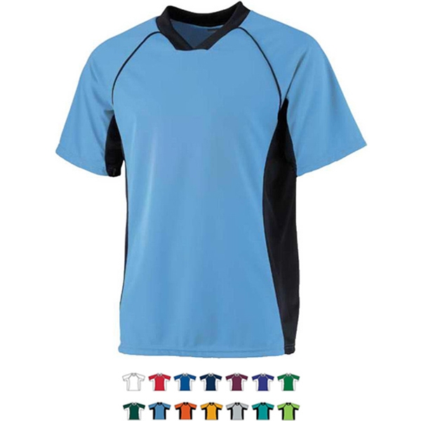 Youth Polyester Performance Soccer Shirt. Sold Blank Photo