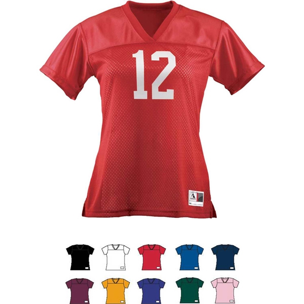 Replica - Girls 100% Polyester V-neck Collar Football Tee. Sold Blank Photo