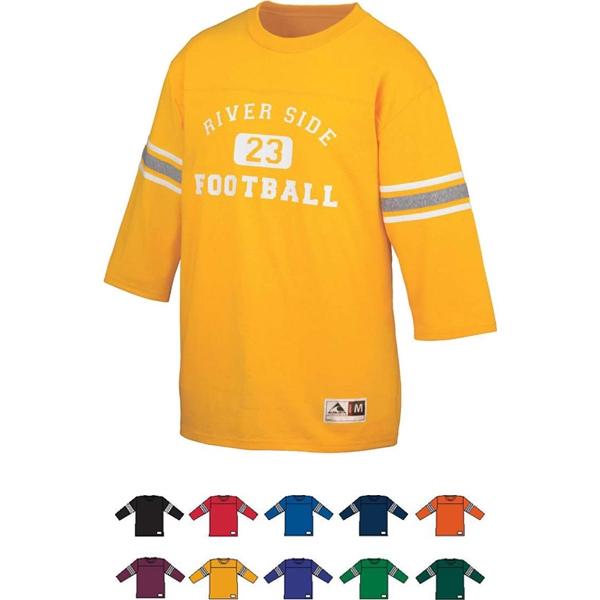Old School - 2 X L - Adult Poly/cotton Contrast Color Accent Stripes Football Jersey. Sold Blank Photo