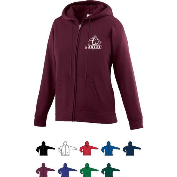 Girls Wicking Fleece Full Zip Hooded Sweatshirt. Sold Blank Photo