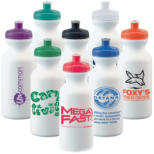20 Oz. White Economy Bike Water Bottle/bike Bottle With Colored Lid - Mega Special Photo