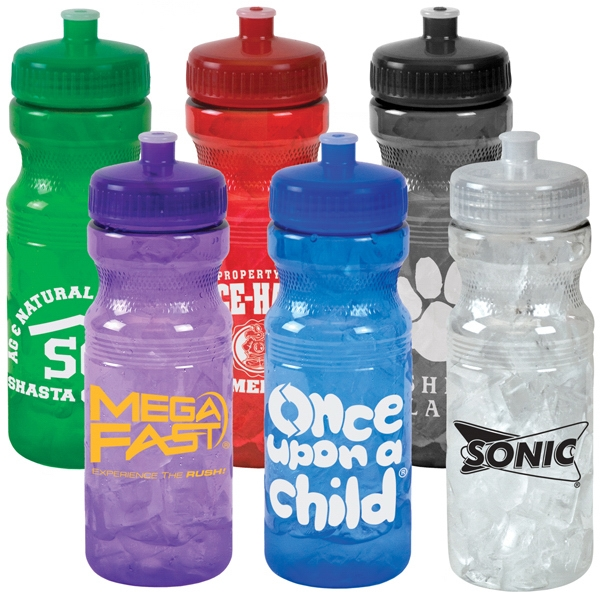 24 Oz. Translucent Colored Sport Bottle With Matching Push/pull Lid Photo