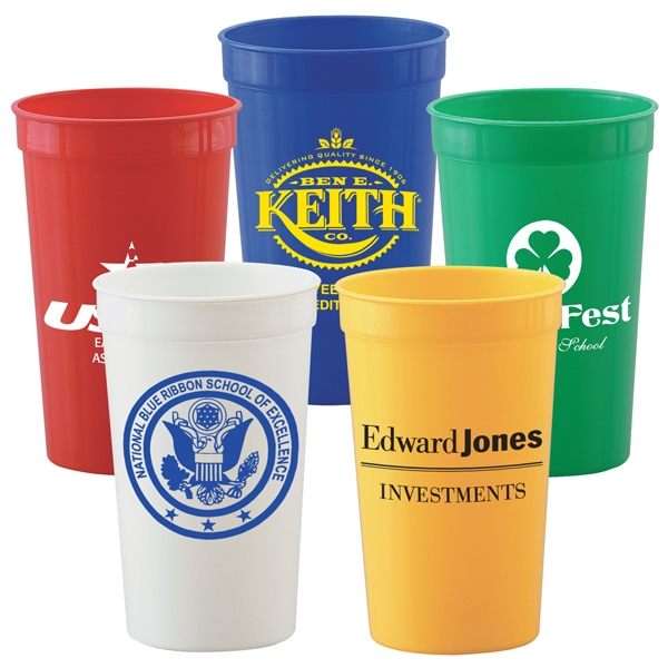 22 Oz. Smooth Plastic Stadium Cup, Solid Colors Photo