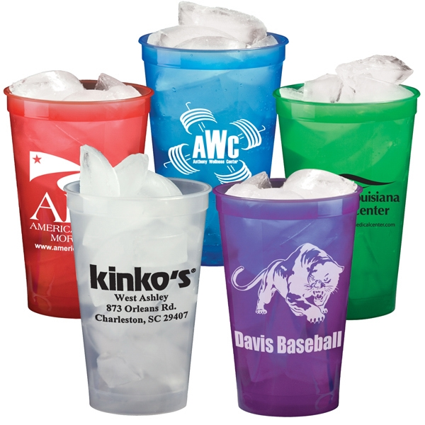 22 Oz. Smooth Plastic Stadium Cup, Translucent Colors - Mega Special Photo