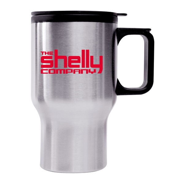 16 Oz. Stainless Steel Driver's Mug With Black Plastic Lining, Push Tight Lid Photo