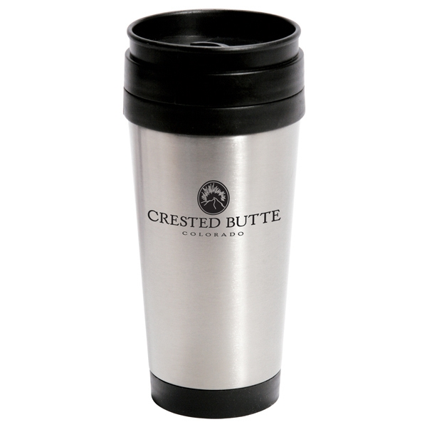 14 Oz Stainless Steel Travel Tumbler With Screw-on Lid (with Thumb-slide) Photo