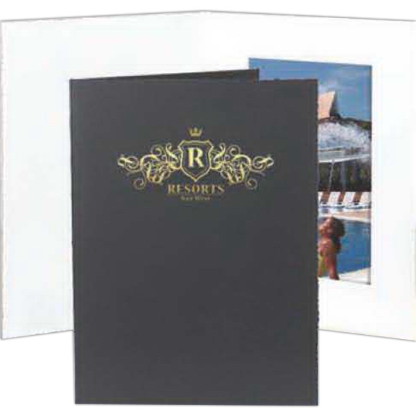"Black - With Border - Vertical Portrait Folder Holds 5"" X 7"" Frame Photo"