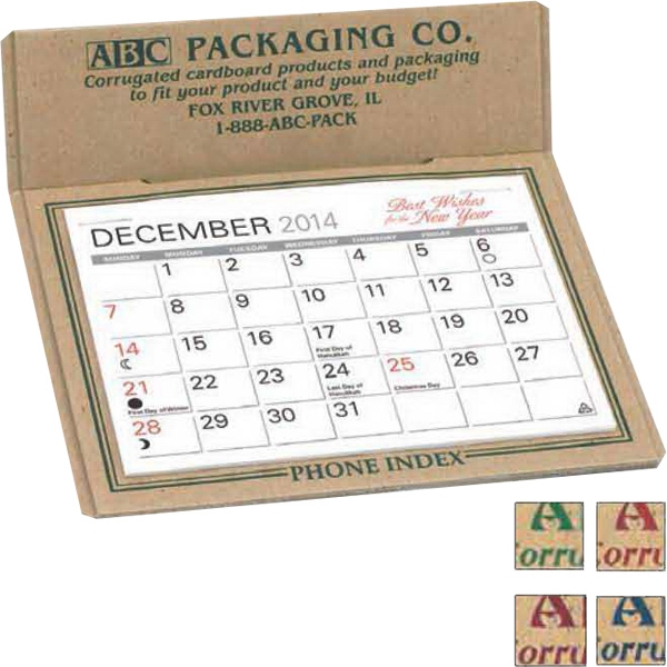 The Forest - Raw Chipboard Desk Calendar With Full Year Calendar Printed On Back Photo