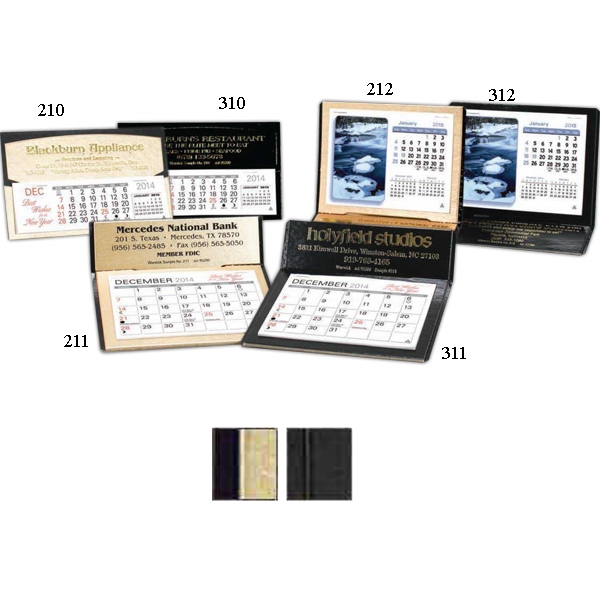 "The Crest - Monthly Desk Calendar With 4 3/8"" X 3 1/4"" Memo Style Pad Photo"