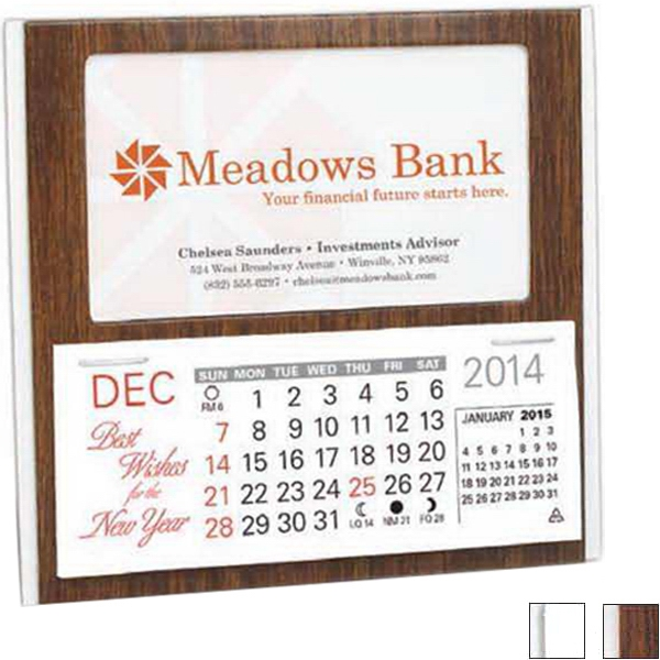 The Woodridge - Desk Calendar With Monthly Date Pad And Business Card Window, Blank Photo