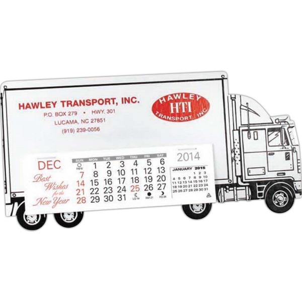 Tractor Trailer - Standard Truck Shape Desk Calendar With Black Trim And Tires Photo