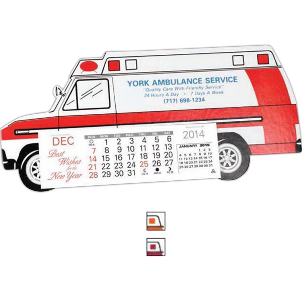 "Monthly Calendar With Ambulance Shape And Design. 5 1/4"" X 1 5/8"" Pad Photo"