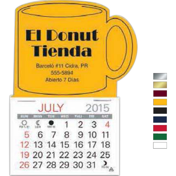 "Easy Stick (tm) - Mug Shape Self Adhering Vinyl Calendar With 13 Month Pad, 3 1/2"" X 4 3/8"" Photo"