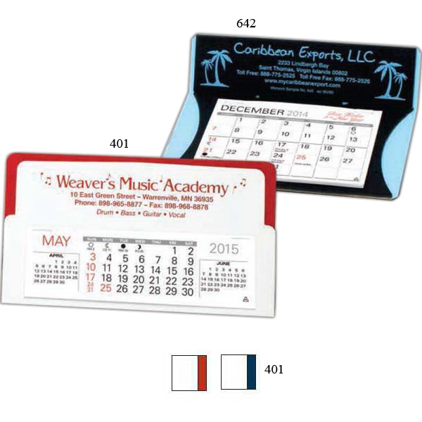 "Discreet - Two Toned Desk Calendar With 5 1/4"" X 1 5/8"" Pad Photo"