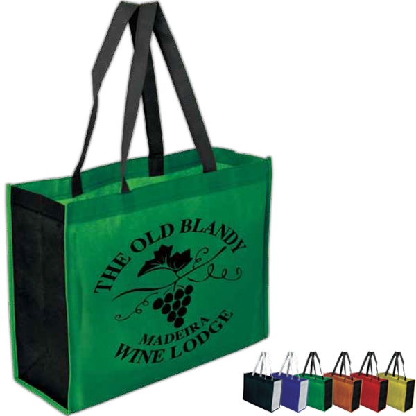 Two-toned Gusseted Tote Bag 100% Non-woven Polypropylene, 80 Grams Photo