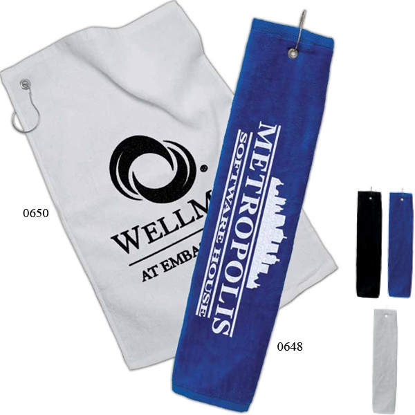 Golf Towel With Silver Grommet Ring Photo