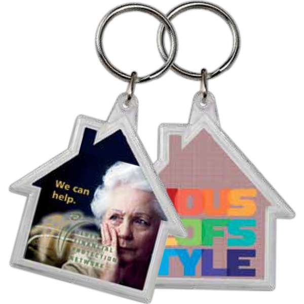 "House Shaped Crystal Key Tag With Silver 1"" Split Ring Included Photo"