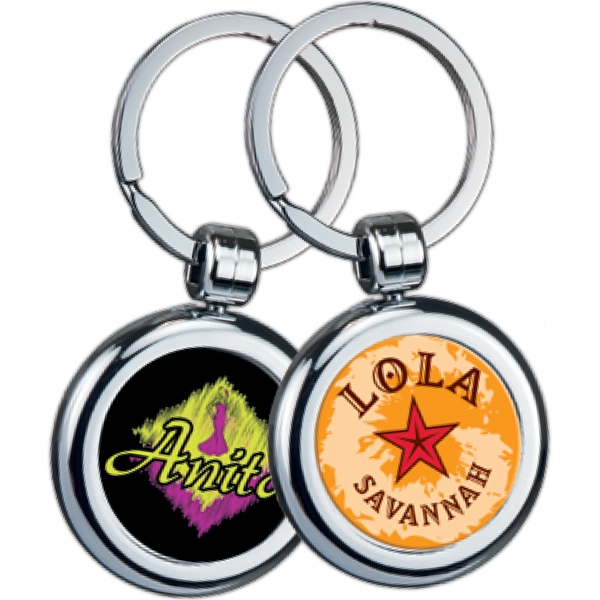 Round - Two-sided Chrome Plated Domed Key Tag Photo